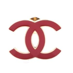 Gold Red Rare Enamel Plated Cc Hardware Brooch Pin